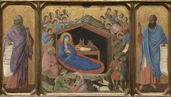Buoninsegna, Duccio di: The Nativity with the Prophets Isaiah and Ezekiel. Biblical Fine Art Print/Poster (004162)